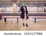 hipster woman with blue hair... | Shutterstock . vector #1324117988