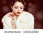 Fashion Woman With Red Lips An...