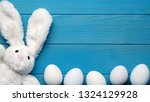 easter bunny with easter eggs... | Shutterstock . vector #1324129928