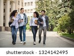 multiethnic group of smiling... | Shutterstock . vector #1324142495