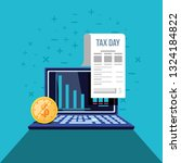 tax day with laptop computer... | Shutterstock .eps vector #1324184822
