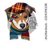 vector dog with checkered hat... | Shutterstock .eps vector #1324196138