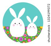 cute easter bunnies on circle...   Shutterstock .eps vector #1324199372
