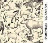 farm animals doodle seamless... | Shutterstock .eps vector #1324206725