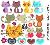 set of various cute kittens | Shutterstock .eps vector #132421952