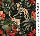 tropical night vintage cheetah  ... | Shutterstock .eps vector #1324223732