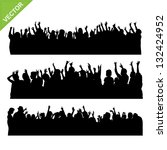 crowd concert silhouettes vector | Shutterstock .eps vector #132424952
