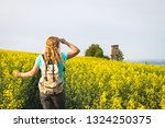 hiking woman looking to lookout ... | Shutterstock . vector #1324250375