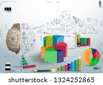 graph chart percent 3d and icon ... | Shutterstock .eps vector #1324252865
