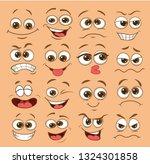 Stock vector face expression set vector illustration emoticon cartoon 1324301858