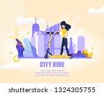 flat banner sports girl on... | Shutterstock .eps vector #1324305755