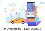 flat banner yellow automobile... | Shutterstock .eps vector #1324306538