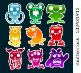 colorful glossy monsters | Shutterstock .eps vector #132431912