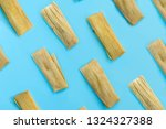 Colorful pattern with tamales on blue background. Top View. Copy Space. Pop art design.