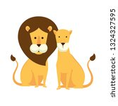 african lions couple characters | Shutterstock .eps vector #1324327595