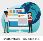 girl and boy with social... | Shutterstock .eps vector #1324336118
