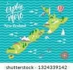an illustration of new zealand... | Shutterstock .eps vector #1324339142