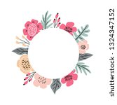 floral hand drawn frame on a... | Shutterstock .eps vector #1324347152
