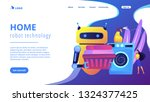 robot holding basket with...   Shutterstock .eps vector #1324377425