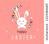 happy easter day with white... | Shutterstock . vector #1324384685