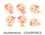 cute baby girl with pink ribbon ... | Shutterstock .eps vector #1324392815