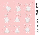 set of cute easter rabbits with ... | Shutterstock .eps vector #1324419878
