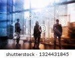 double exposure bitcoin and... | Shutterstock . vector #1324431845