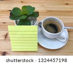 paper note  small tree and cup... | Shutterstock . vector #1324457198