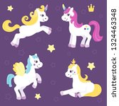 set of cute unicorns and... | Shutterstock .eps vector #1324463348