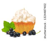 pastry with cream and black...   Shutterstock .eps vector #1324487402