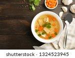homemade chicken soup served on ...   Shutterstock . vector #1324523945