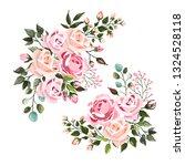 set of pale pink rose wedding... | Shutterstock .eps vector #1324528118