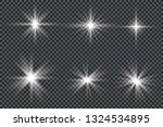 set of glowing light stars with ... | Shutterstock .eps vector #1324534895