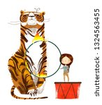circus trainer with tiger and... | Shutterstock . vector #1324563455