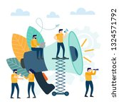 small people with megaphone.... | Shutterstock .eps vector #1324571792
