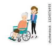 happy old woman in a wheelchair ... | Shutterstock .eps vector #1324576955