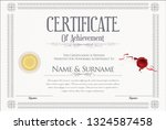 certificate with golden seal... | Shutterstock .eps vector #1324587458