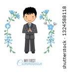 boy communion card. child in...   Shutterstock .eps vector #1324588118