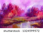 oil painting colorful autumn... | Shutterstock . vector #1324599572