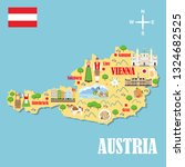 Stylized map of Austria. Travel illustration with austrian landmarks, architecture, national flag, and other symbols in flat style. Vector illustration