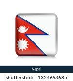 flag of nepal. square glossy... | Shutterstock .eps vector #1324693685