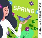 flat banner spring brunette... | Shutterstock .eps vector #1324720538
