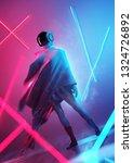 a futuristic female model in a... | Shutterstock . vector #1324726892