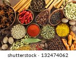 spices and herbs in metal ... | Shutterstock . vector #132474062