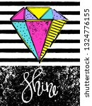 diamond print t shirts and card.... | Shutterstock .eps vector #1324776155