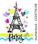 paris print t shirts and card.... | Shutterstock .eps vector #1324776158