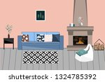 vector interior in scandinavian ... | Shutterstock .eps vector #1324785392
