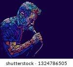 Singer Man Character. Abstract...