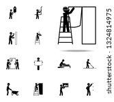 worker glues wallpaper icon.... | Shutterstock .eps vector #1324814975