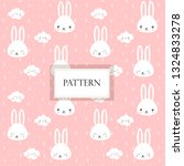 cute rabbit and cloud on pink...   Shutterstock .eps vector #1324833278